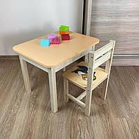 Дитячий стіл з ящиком і стільчик. Для навчання,малювання,гри, фото 4