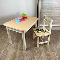 Дитячий стіл з ящиком і стільчик. Для навчання,малювання,гри, фото 6