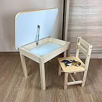 Дитячий стіл з ящиком і стільчик. Для навчання,малювання,гри, фото 7