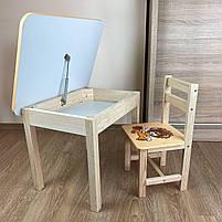 Детский стол и стул. Стол с ящиком и стульчик. Для учебы,рисования,игры, фото 2