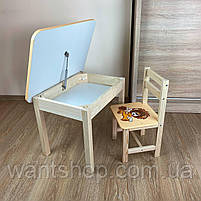 Детский стол и стул. Стол с ящиком и стульчик. Для учебы,рисования,игры, фото 8