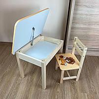 Детский стол и стул. Стол с ящиком и стульчик. Для учебы,рисования,игры, фото 9