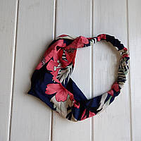 Повязка-лента на голову Крупные цветы сине-розовый (ZMN-bigflow-darkblue)