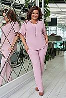 Летний повседневный женский костюм- блуза и брюки батал 50-52 размер