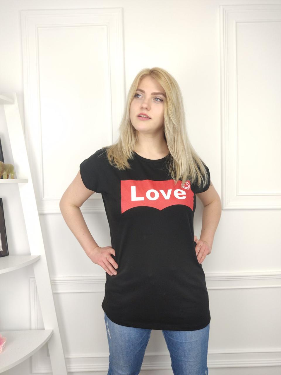 Женская футболка батал, 52-62рр, LOVE, черный