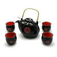 Сервиз керамический (чайник 660мл, h-11см, d-13см; 4 чашки 50мл, h-5,5см, d-5,5см)