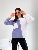 Рубашка c полосками женская БЕЛАЯ ВСТАВКА (ПОШТУЧНО)