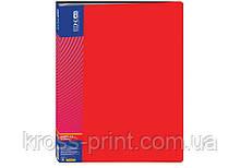 Папка пластиковая с 40 файлами, красная