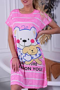 Жіноча нічна сорочка рожева код П261
