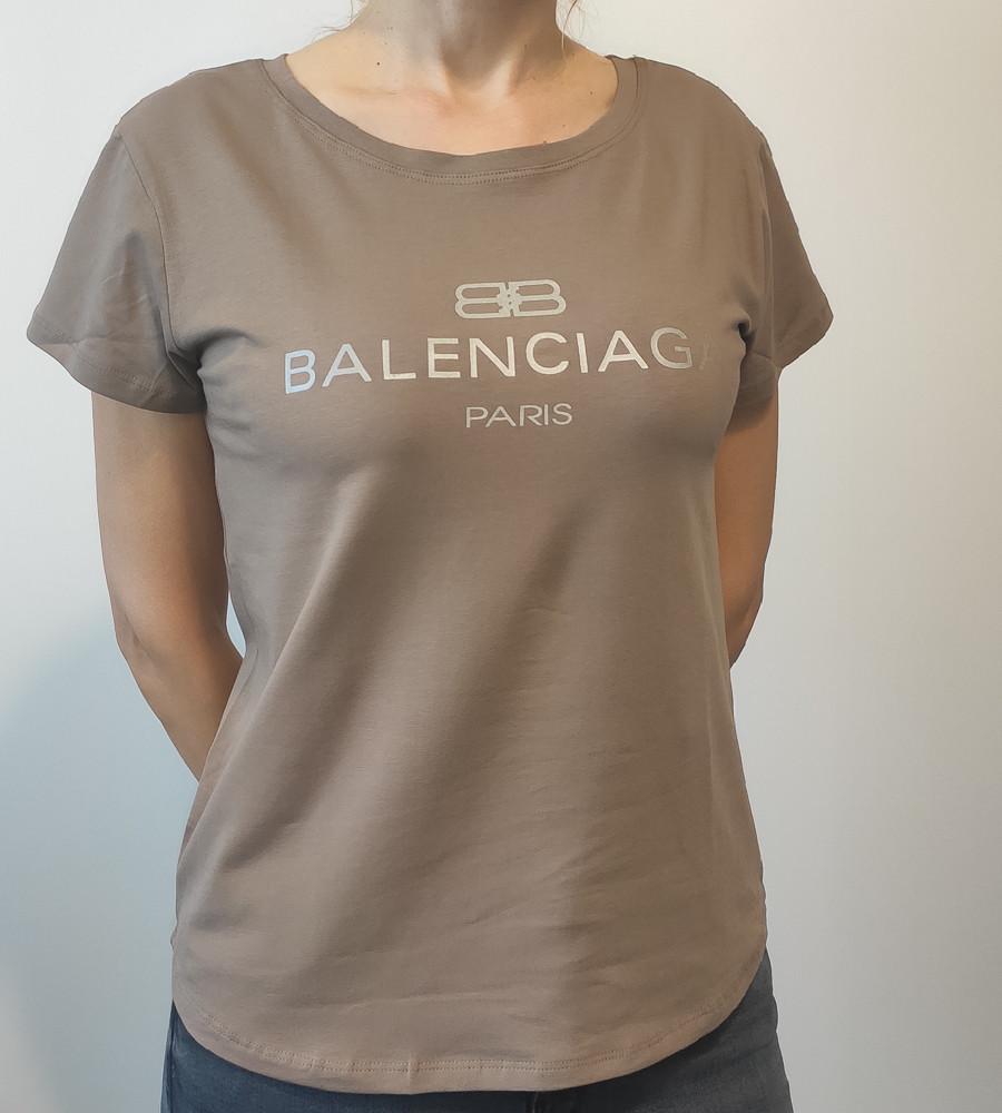 Футболка женская свободного кроя Balenciaga (2018жс), Кофе