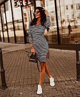 Женское летнее платье в полоску (42-44 и 44-46) из вискозы (чёрный + белый, розовый + белый)