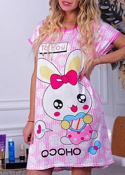 Женская ночная рубашка розовая код П262