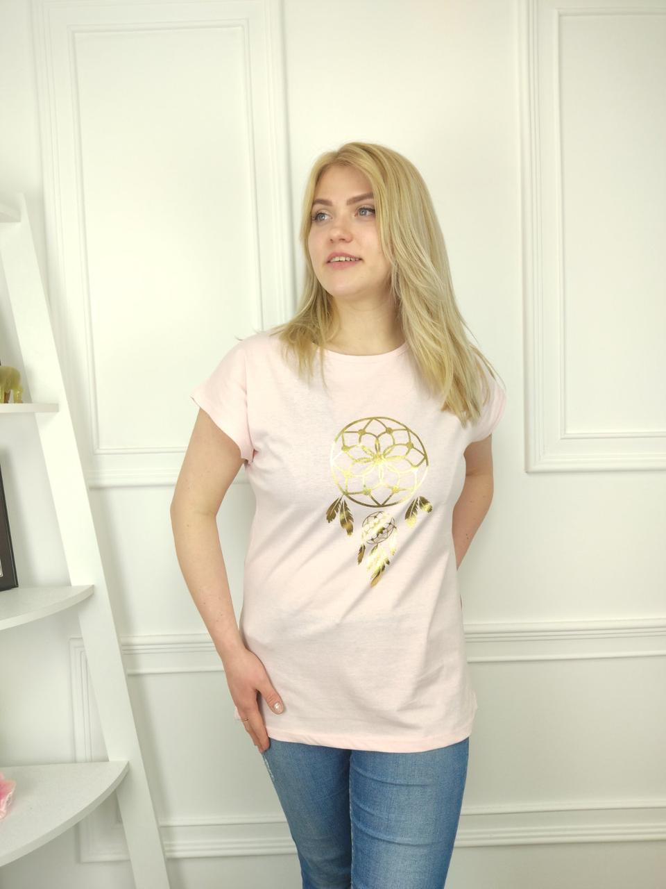 Жіноча футболка батал, 52-62рр, метелик, чорний