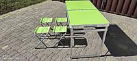 Усиленный стол для пикника 1200*600*700мм раскладной чемодан + 4 стула зеленый цвет