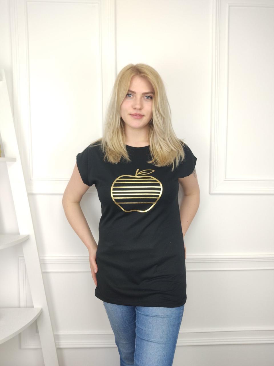 Женская футболка батал, 52-62рр, apple-золото, черный