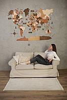 Карта Мира на стену, деревянная многослойная со странами и столицами 3д Подарок на день рождения