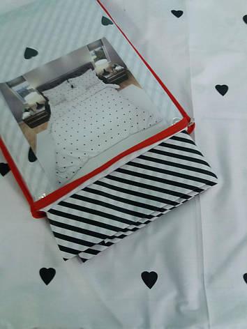 Постільна білизна бязь голд сімейний люкс білий в сердечка і смужку., фото 2