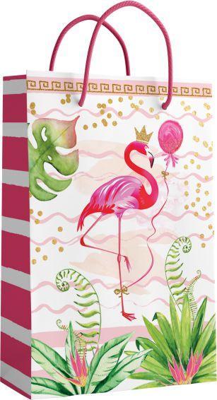 Подарунковий пакет СЕРЕДНІЙ 26,5*16,5*7 см Фламінго