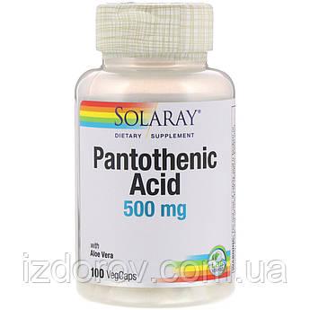Solaray, Пантотеновая кислота, 500 мг, Pantothenic Acid, 100 растительных капсул