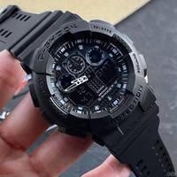 Наручные мужские водостойкие электронные часы Casio G-SHOCK GA-100, кварцевые спортивные часы черные