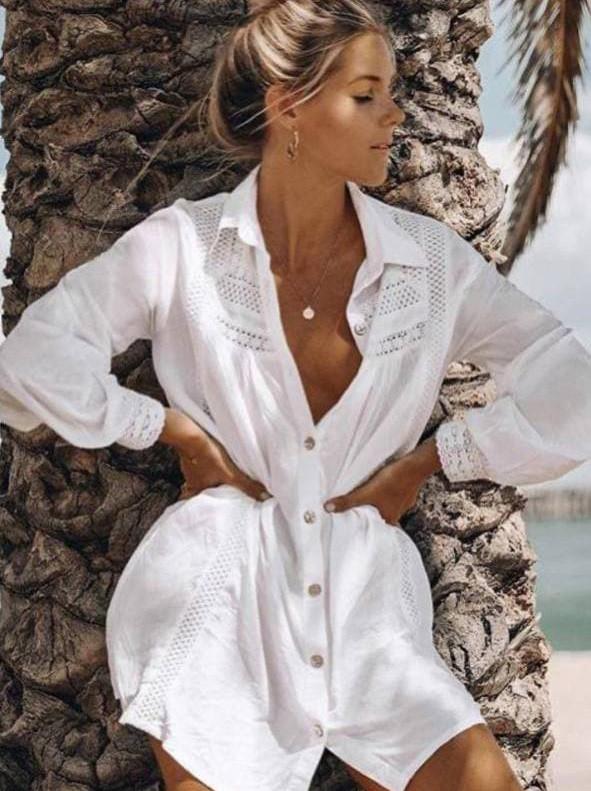 Легкая пляжная рубашка на пуговицах с ажурным узором 42-46 р