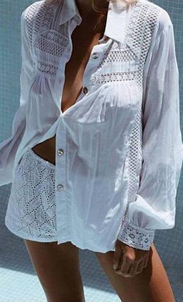 Легкая пляжная рубашка на пуговицах с ажурным узором 42-46 р, фото 2