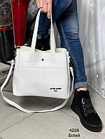 Стильная женская сумка с эко-кожи белая, модная вместительная сумка для девушек