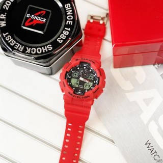 Наручные мужские спортивные электронные часы Casio G-SHOCK GA-100, кварцевые водонепроницаемые часы красные