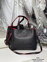 Стильная женская сумка с эко-кожи черная с красным, модная вместительная сумка для девушек