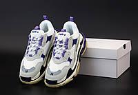 Кроссовки Женские Balenciaga Triple S Violet / Обувь Баленсиага Люкс фиолетовые модные повседневные Италия