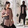 Льняний модний жіночий костюм бежевий (3 кольори) VV/-1405