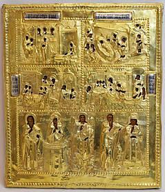 Икона Рождество Христово, Рож-во Бог-цы, Рож-во Николая и Иоанна 19 век, серебро 84 пр.