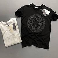 Мужская брендовая футболка Versace черная
