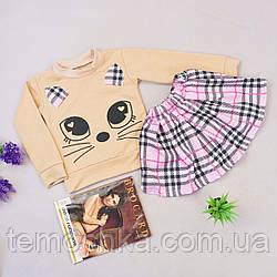 Комплект спідниця і кофта з котом для дівчинки
