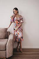Женское платье с рукавами фонариками в цветочки