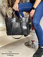 Универсальная женская сумка с эко-кожи Плетение черная с красным, модная вместительная сумка Турция