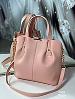 Стильная женская сумка с эко-кожи пудра, модная вместительная сумка Турция