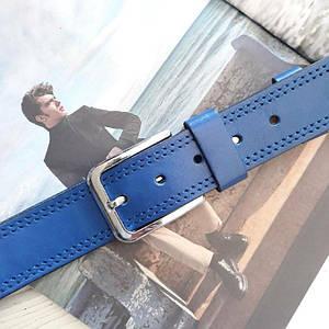 Мужской классический кожаный ремень Синий