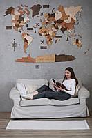 Подарки мужчинам шефу боссу начальнику Деревянная многослойная карта мира на стену со странами 3д