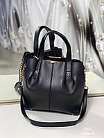 Стильная женская сумка с эко-кожи черная, модная вместительная сумка Турция