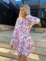 Женское летнее белое платье с цветочным рисунком (42-46 и 48-52) лёгкое и воздушное