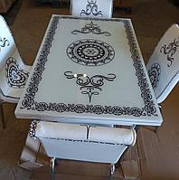 """Комплект кухонной мебели """"Вензель"""" (стол ДСП, калённое стекло + 4 стула) Mobilgen, Турция"""