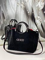 Стильная женская сумка натуральная замша и экокожа черная с красным, модная вместительная сумка Турция