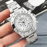 Мужские классические часы наручные кварцевые металлические Rolex Daytona Quartz Date серый с белым