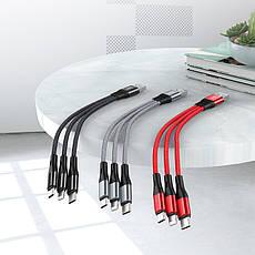 Кабель HOCO X47 універсальний 3 в 1 Lightning / Micro / USB+Type-C 25 см, 2.4 А Black, фото 3
