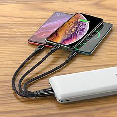 Кабель HOCO X47 універсальний 3 в 1 Lightning / Micro / USB+Type-C 25 см, 2.4 А Black, фото 2