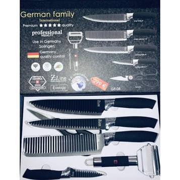 Набор профессиональных кухонных ножей German Family Z-Line GF-8 (6 предметов) антискользящее покрытие