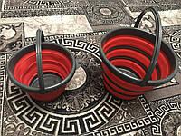 Комплект: Складное відро силіконове кругле Silicon Bucket 10л + 5л червоне для кемпінгу, автомобіля, риболовлі