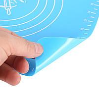 Силиконовый антипригарный коврик для выпечки и раскатки теста 40x30 см Синий (красный)коврик для запекания