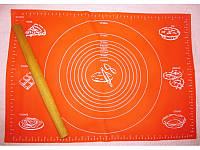 Силиконовый антипригарный коврик для выпечки и раскатки теста 40x30 см Красный коврик для запекания